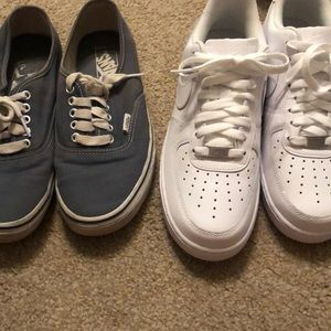 Nike Airforce 1 and Pale blue Vans